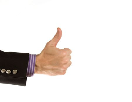 simulating: male hand simulating everything is all right Stock Photo