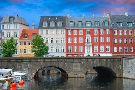 view of canal and old bridge in Copenhagen photo