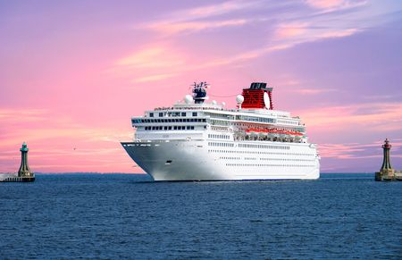 ocean liner: big cruise liner coming into the port area Stock Photo