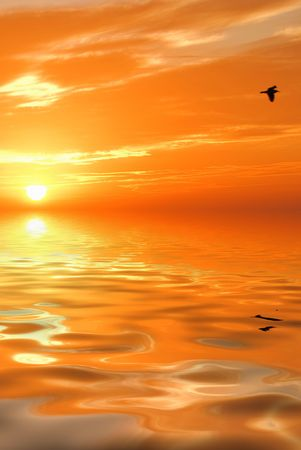 sunset at coast of Mediterranean sea