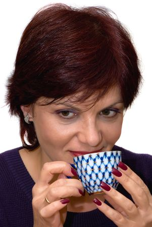 portrait of pretty women with a cup photo