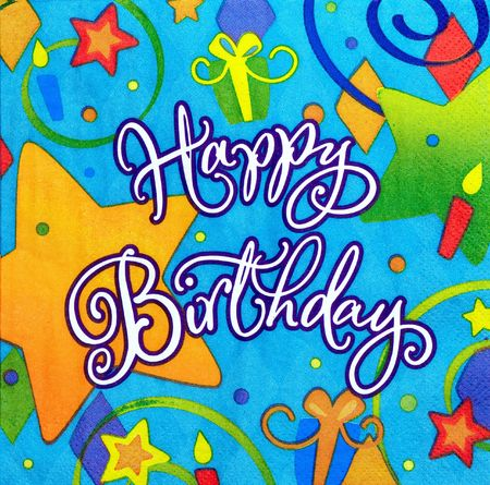 color background of happy birthday message Stock Photo