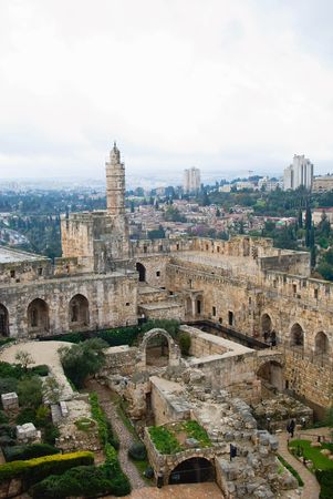 The famous Tower of David with it?s inner yard  Stock Photo