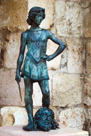 david and goliath: King David statue. Citadel Old City Jerusalem Israel
