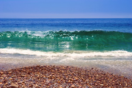Coastline of Pacific ocean. Malibu beach, Los Angeles, USA.