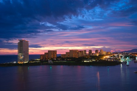 puerto: Beautiful sunset in Puerto Vallarta, Mexico Stock Photo