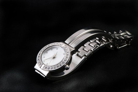 closeup of the  luxurious lady's  watch