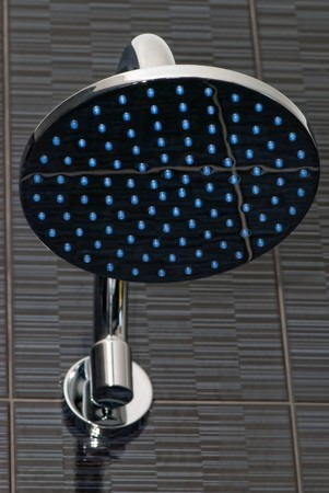 closeup of chrome shower head Stockfoto