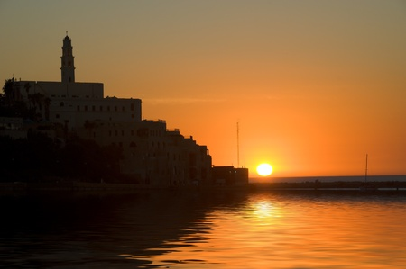 sunset in Jaffa (city of Israel) photo