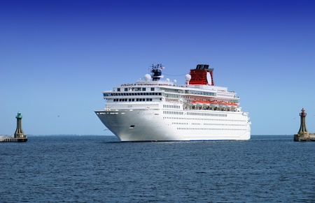 big cruise liner coming into the port area Stock Photo