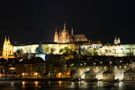 St. Vitus cathedral with charles bridge at night, Prague