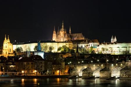 vitus: St. Vitus cathedral with charles bridge at night, Prague