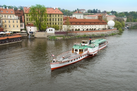 travel boat on Vltava river Stock Photo