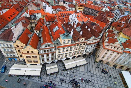 Central square in Prague. View from tower. photo
