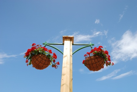 Flower basket on a post photo