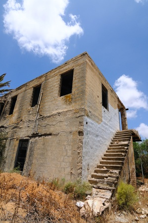 abandoned house with staircase, closeup photo