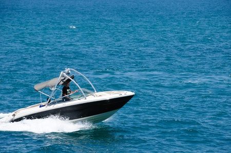 tour boats: Motorboat on the route on mediterranean sea Stock Photo