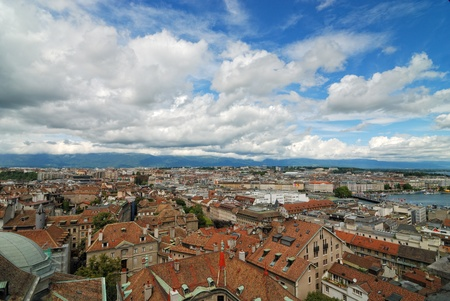 panoramic view of Geneva, Switzerland from Cathedral Saint Pierre