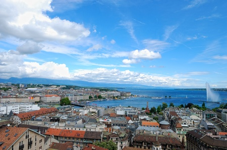 panoramic view of Geneva, Switzerland from Cathedral Saint Pierre