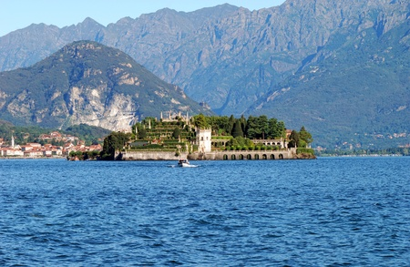 Scenic view on beautiful Lake Maggiore among the mountains, Italy photo