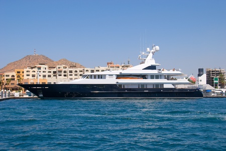 Yacht anchored off the coastline of Cabo San Lucas, Mexico
