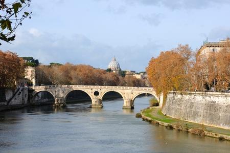 view of Tiber river with Ponte Cestio (Cestius' Bridge) in Rome, Italy Stock Photo - 11789661