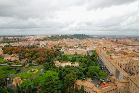 view of Rome city from st. Peters Cathedral photo