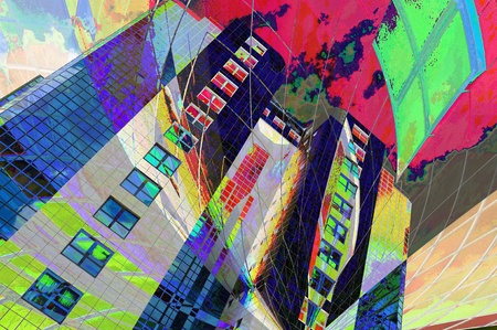 superposition: abstract image of the modern building