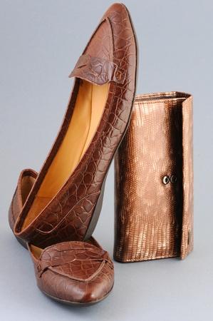leather shoes and purse, closeup photo
