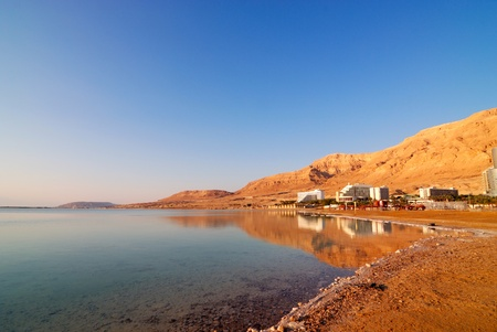 nature reserves of israel: Coast of the Dead Sea with hotels against mountains