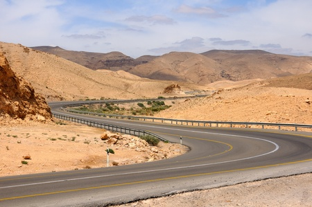 View of Judean desert landscape. Highway to the Dead Sea.