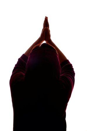 praying woman isolated on white background photo