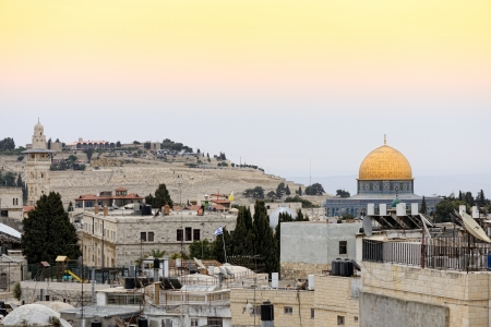 Old city of Jerusalem  Temple Mount  Dome on the Rock Stock Photo