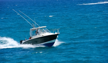 Motorboat on the route on mediterranean sea Stock Photo