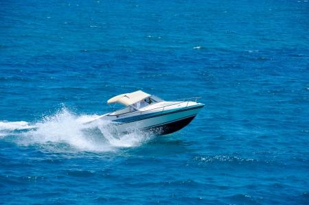 Motorboat on the route on mediterranean sea Stockfoto