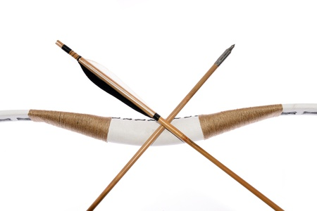 bowstring: Homemade 70 lbs recurve hunting bow with arrow, isolated on white