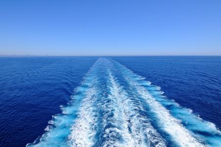 Water wake of cruise liner
