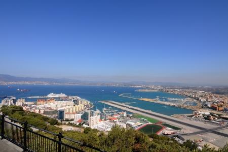 Gibraltar airport runway and La Linea de la Concepcion in Spain, southern Andalucia region, Cadiz province. photo