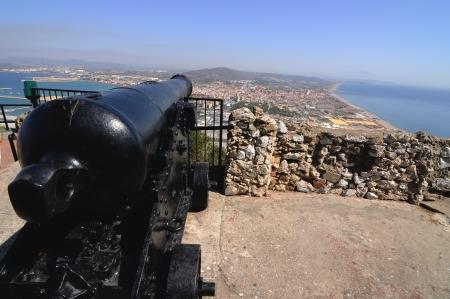closeup of ancient cannon above Gibraltar photo