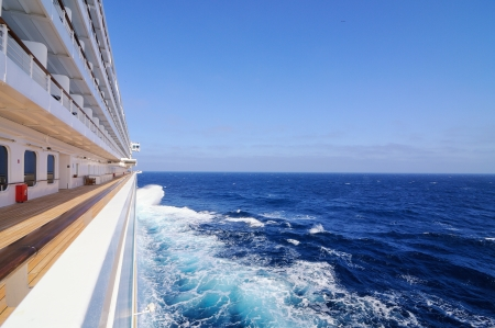 liner: white cruise ship on the route