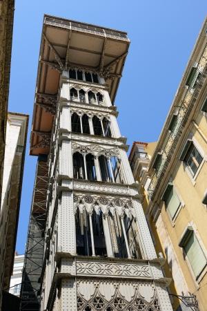 ascensor: elevator of Santa Justa - famous historical lift in the centre of Lisbon, Portugal (symbol of Lisbon) Editorial