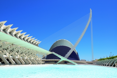 hemispheric: VALENCIA, SPAIN -JULY 18: The City of Arts and Sciences onJuly 18, 2012 in Valencia, Spain. This futuristic building was designed by the famous architect Santiago Calatrava.