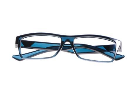 spec: blue eyeglasses isolated on white background Stock Photo