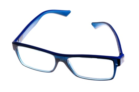 nearsighted: blue eyeglasses isolated on white background Stock Photo