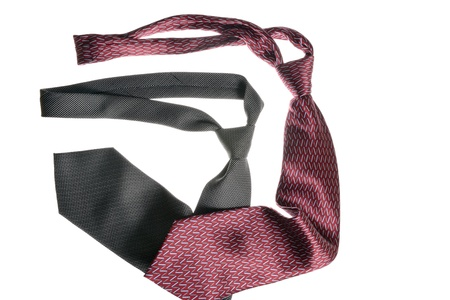 two  neckties over white background photo