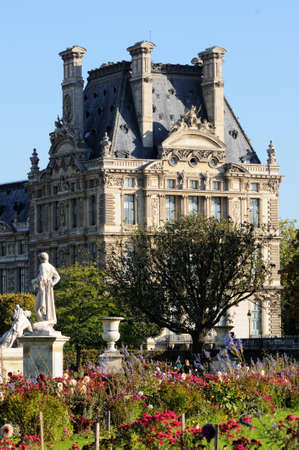 Beautiful view of Louvre palace, Tuileries garden side, Paris - France