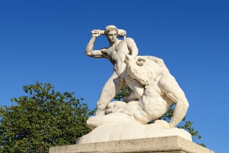 Paris - Hercules and Minotaur statue - Tuileries garden Stock Photo