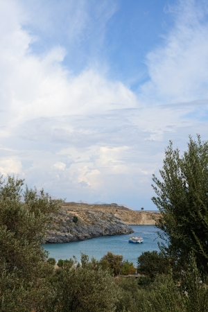 dodecanese: View from above of Lindos Main Beach, Rhodes, one of the Dodecanese Islands in the Aegean Sea, Greece.