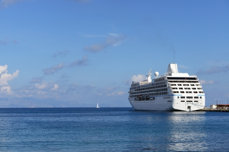 big cruise ship moored in the port of Rhodes, Greece photo