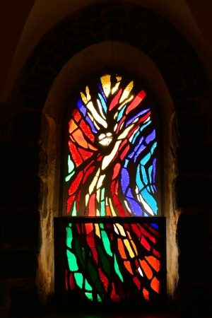 Stained Glass Window in  temple of twelve Apostles, Israel  photo